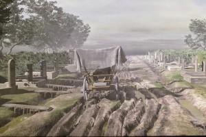 Darstellung aus dem Archäologiepark Carnuntum: Grabstätten entlang der Handelsroute